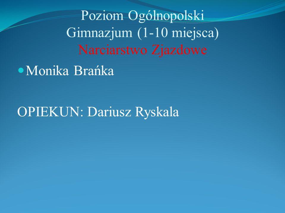 Poziom Ogólnopolski Gimnazjum (1-10 miejsca) Narciarstwo Zjazdowe Monika Brańka OPIEKUN: Dariusz Ryskala