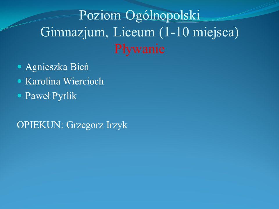 Poziom Ogólnopolski Gimnazjum, Liceum (1-10 miejsca) Pływanie Agnieszka Bień Karolina Wiercioch Paweł Pyrlik OPIEKUN: Grzegorz Irzyk