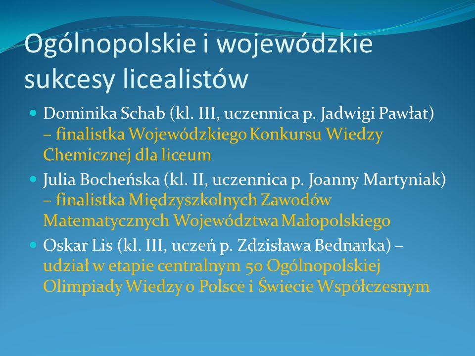 Ogólnopolskie i wojewódzkie sukcesy licealistów Dominika Schab (kl. III, uczennica p. Jadwigi Pawłat) – finalistka Wojewódzkiego Konkursu Wiedzy Chemi
