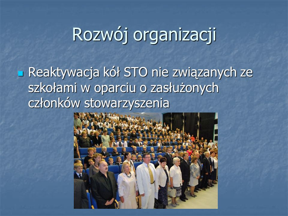 Rozwój organizacji Reaktywacja kół STO nie związanych ze szkołami w oparciu o zasłużonych członków stowarzyszenia Reaktywacja kół STO nie związanych ze szkołami w oparciu o zasłużonych członków stowarzyszenia