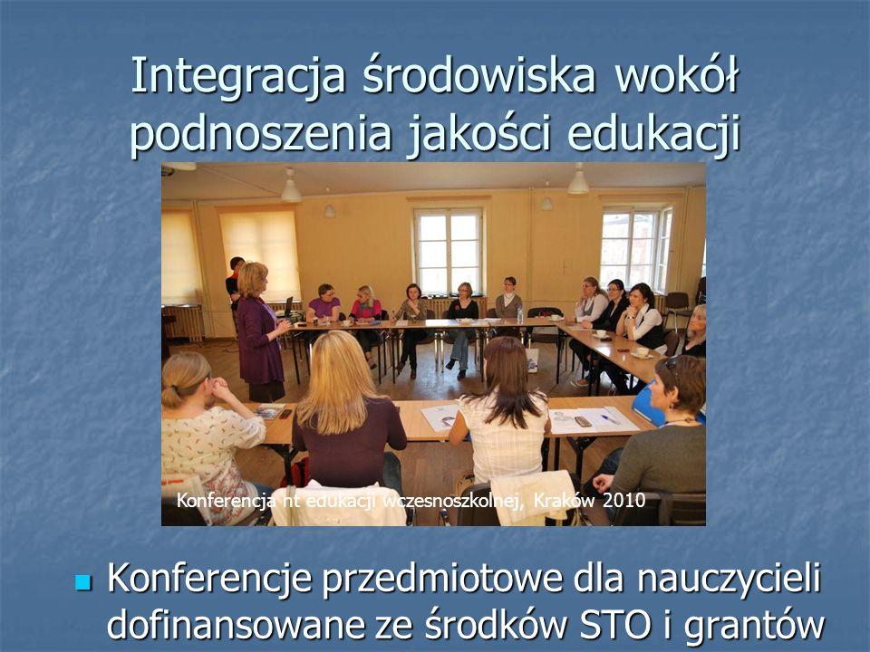 Integracja środowiska wokół podnoszenia jakości edukacji Konferencje przedmiotowe dla nauczycieli dofinansowane ze środków STO i grantów Konferencje przedmiotowe dla nauczycieli dofinansowane ze środków STO i grantów Konferencja nt edukacji wczesnoszkolnej, Kraków 2010