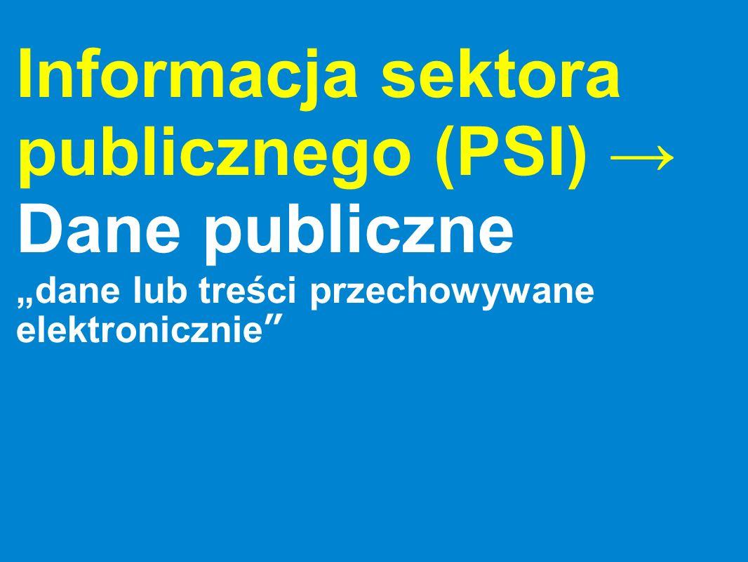 Informacja sektora publicznego (PSI) Dane publiczne dane lub treści przechowywane elektronicznie