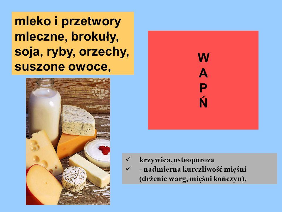 WAPŃWAPŃ mleko i przetwory mleczne, brokuły, soja, ryby, orzechy, suszone owoce, krzywica, osteoporoza - nadmierna kurczliwość mięśni (drżenie warg, m