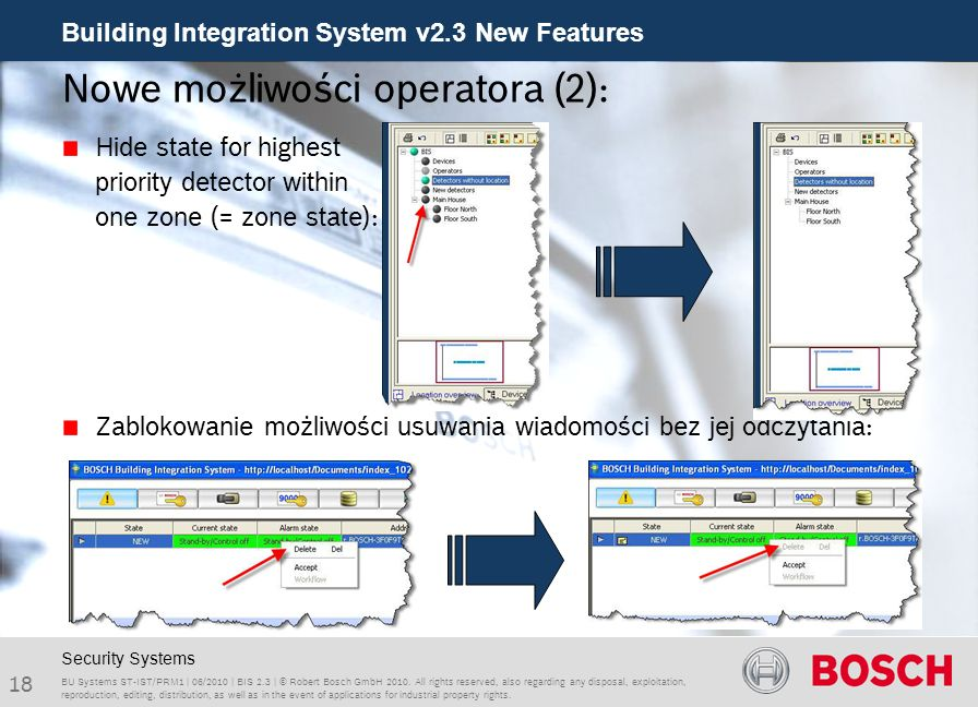 Building Integration System v2.3 New Features 18 BU Systems ST-IST/PRM1 | 06/2010 | BIS 2.3 | © Robert Bosch GmbH 2010.