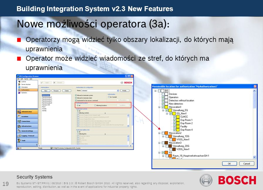Building Integration System v2.3 New Features 19 BU Systems ST-IST/PRM1 | 06/2010 | BIS 2.3 | © Robert Bosch GmbH 2010.