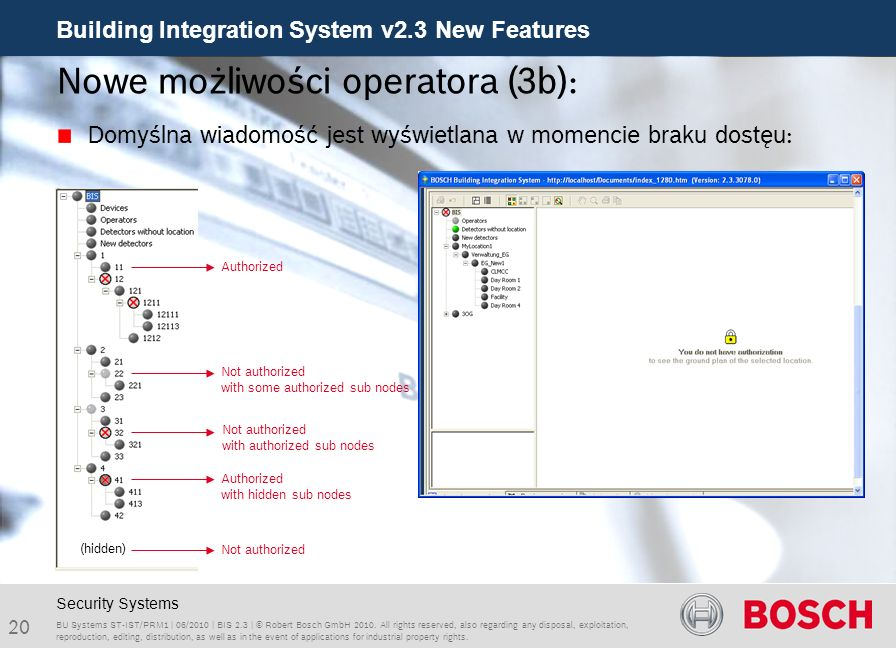 Building Integration System v2.3 New Features 20 BU Systems ST-IST/PRM1 | 06/2010 | BIS 2.3 | © Robert Bosch GmbH 2010.