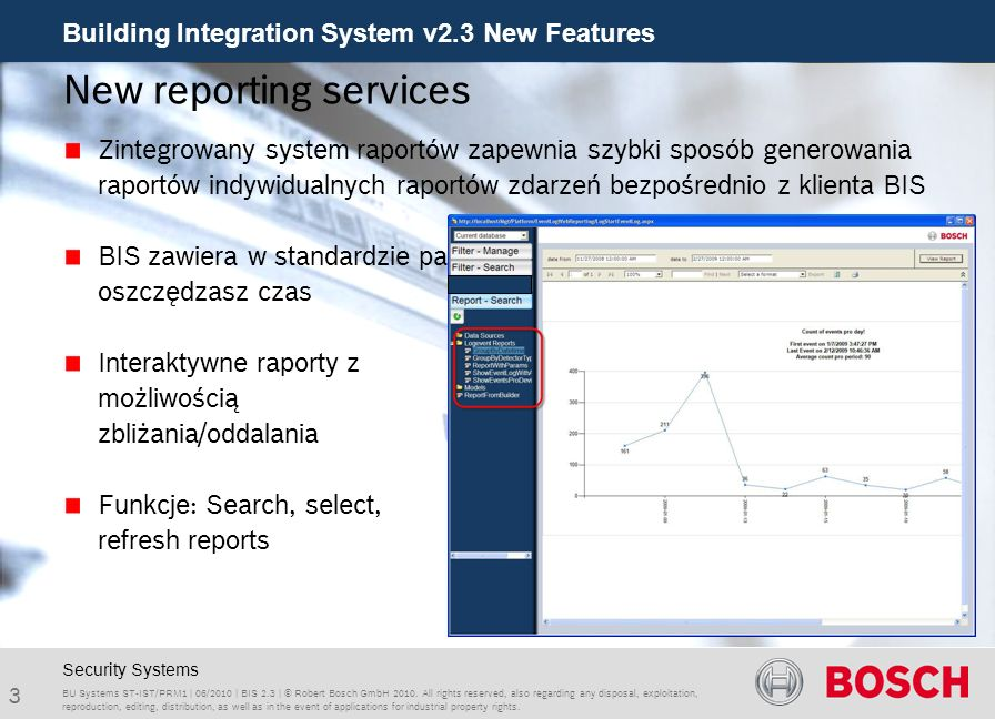 Building Integration System v2.3 New Features 14 BU Systems ST-IST/PRM1 | 06/2010 | BIS 2.3 | © Robert Bosch GmbH 2010.