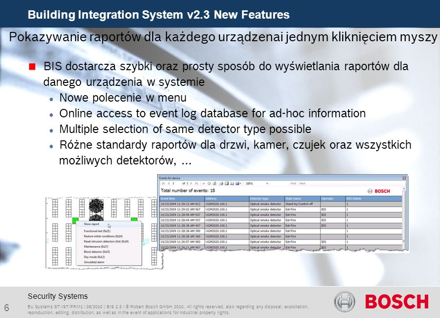 Building Integration System v2.3 New Features 27 BU Systems ST-IST/PRM1 | 06/2010 | BIS 2.3 | © Robert Bosch GmbH 2010.