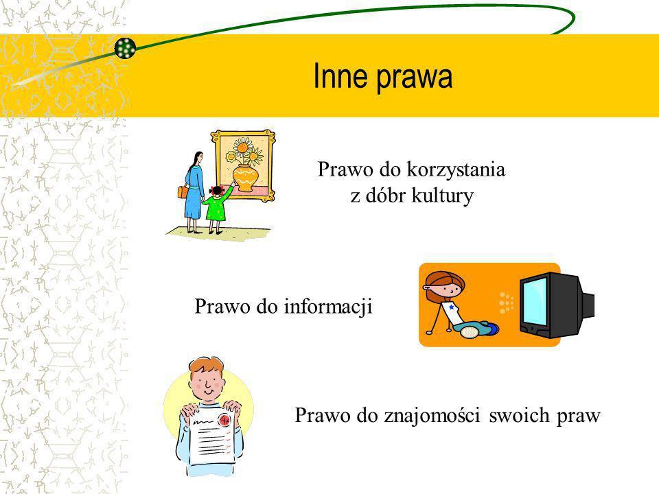 Inne prawa Prawo do znajomości swoich praw Prawo do korzystania z dóbr kultury Prawo do informacji