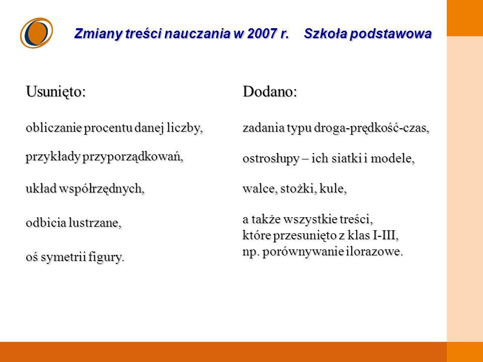 EDUKACJA SKUTECZNA, PRZYJAZNA I NOWOCZESNA Zmiany treści nauczania w 2007 r.
