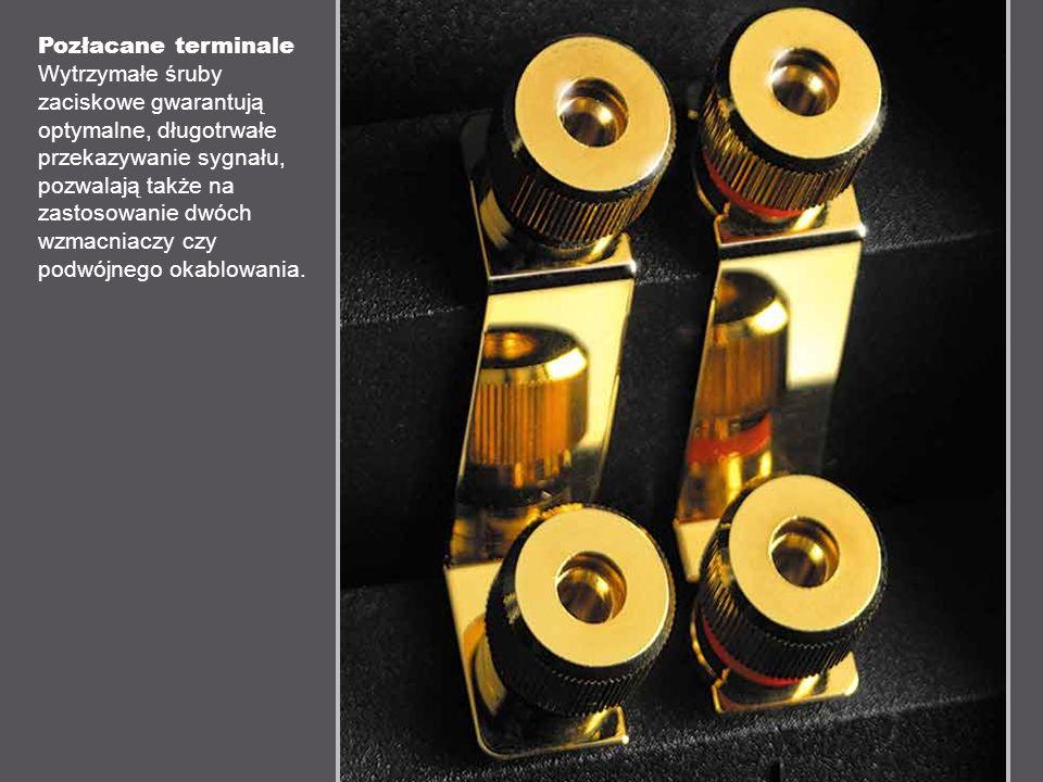 Pozłacane terminale Wytrzymałe śruby zaciskowe gwarantują optymalne, długotrwałe przekazywanie sygnału, pozwalają także na zastosowanie dwóch wzmacniaczy czy podwójnego okablowania.