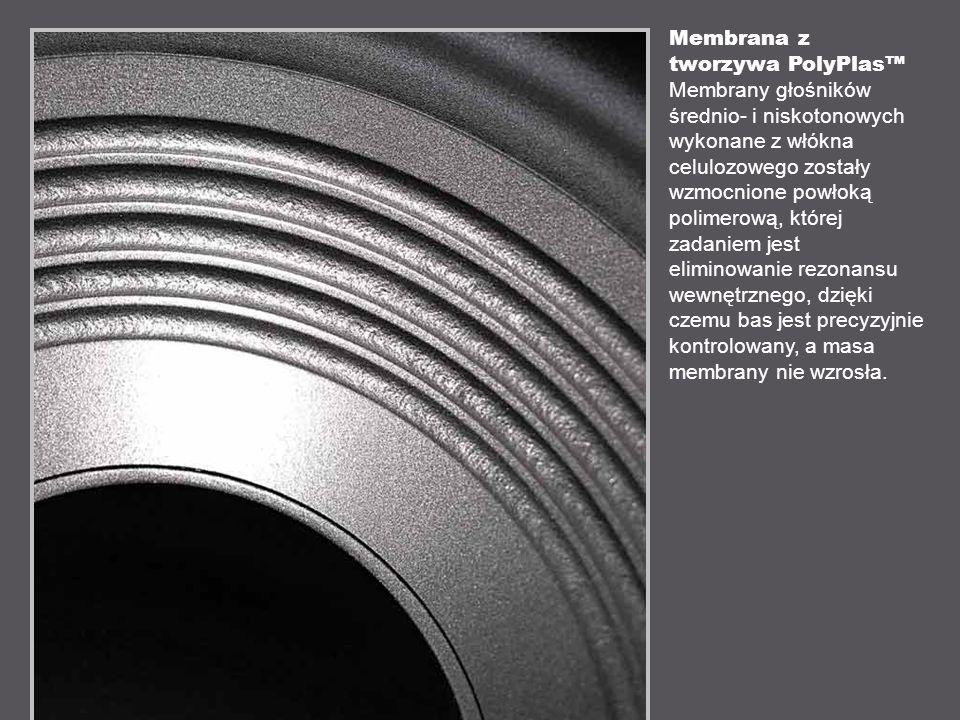 Membrana z tworzywa PolyPlas Membrany głośników średnio- i niskotonowych wykonane z włókna celulozowego zostały wzmocnione powłoką polimerową, której zadaniem jest eliminowanie rezonansu wewnętrznego, dzięki czemu bas jest precyzyjnie kontrolowany, a masa membrany nie wzrosła.