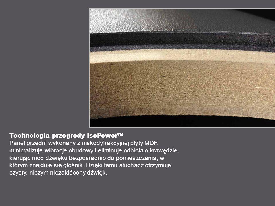 Technologia przegrody IsoPower Panel przedni wykonany z niskodyfrakcyjnej płyty MDF, minimalizuje wibracje obudowy i eliminuje odbicia o krawędzie, kierując moc dźwięku bezpośrednio do pomieszczenia, w którym znajduje się głośnik.