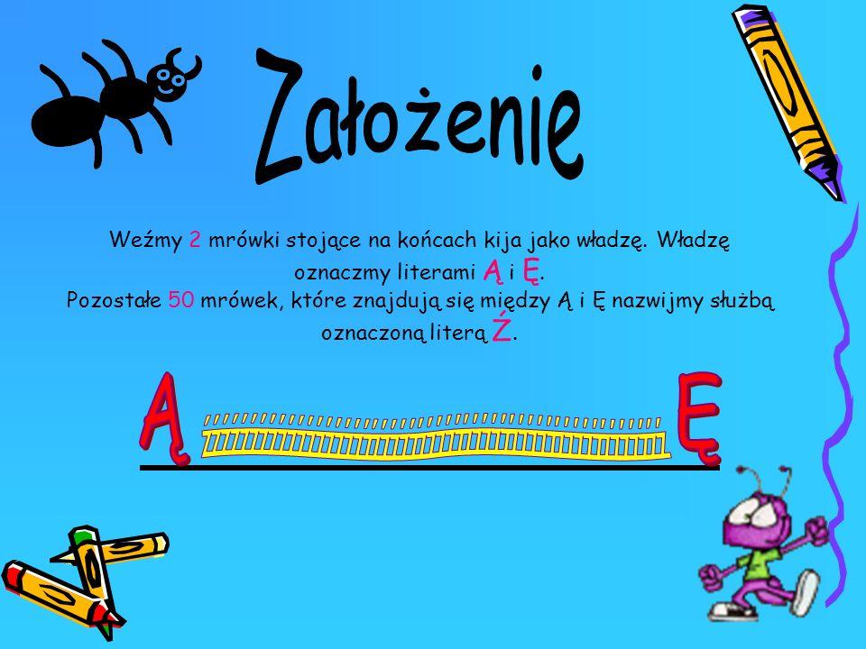 Weźmy 2 mrówki stojące na końcach kija jako władzę. Władzę oznaczmy literami Ą i Ę. Pozostałe 50 mrówek, które znajdują się między Ą i Ę nazwijmy służ