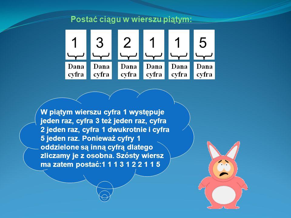 Postać ciągu w wierszu czwartym: 3115 Postać ciągu w wierszu piątym: 132115 Ilość wystą- pień cyfry 3 Ilość wystą- pień cyfry 1 Ilość wystą- pień cyfry 5 W czwartym wierszu cyfra 3 występuje jeden raz, cyfra 1 dwukrotnie, a cyfra 5 jeden raz.