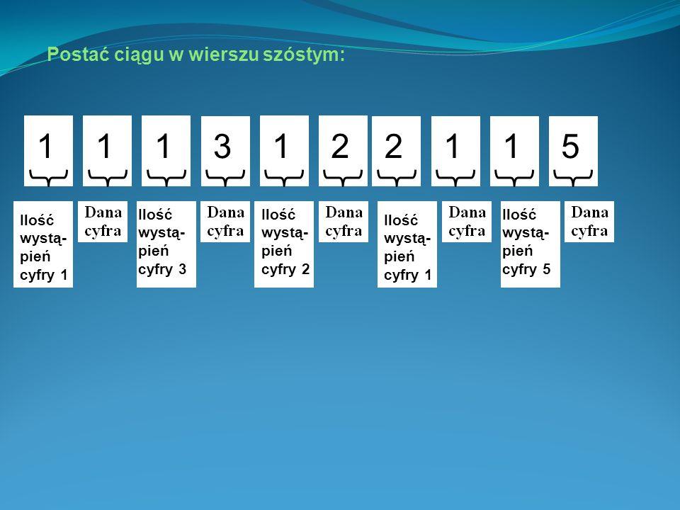 Postać ciągu w wierszu piątym: 132115 W piątym wierszu cyfra 1 występuje jeden raz, cyfra 3 też jeden raz, cyfra 2 jeden raz, cyfra 1 dwukrotnie i cyfra 5 jeden raz.