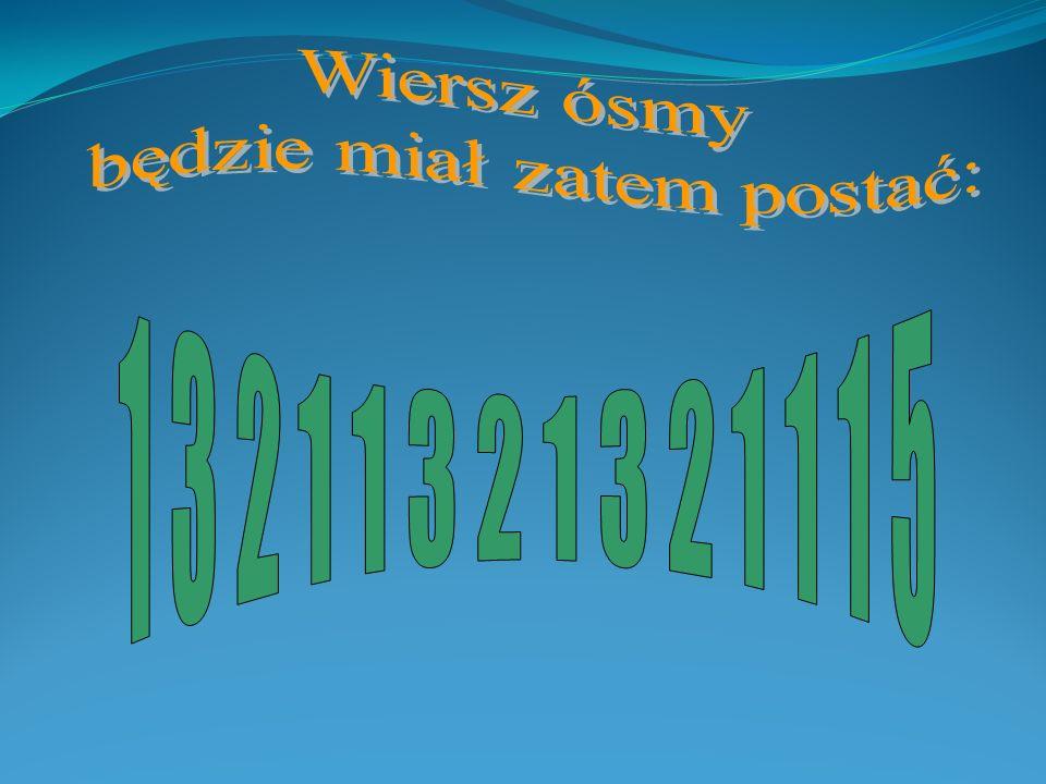 Postać ciągu w wierszu szóstym: 1 32115 1112 Postać ciągu w wierszu siódmym: 3 3222 5 111111 Ilość wystąpień cyfry 1 Ilość wystąpień cyfry 3 Ilość wys