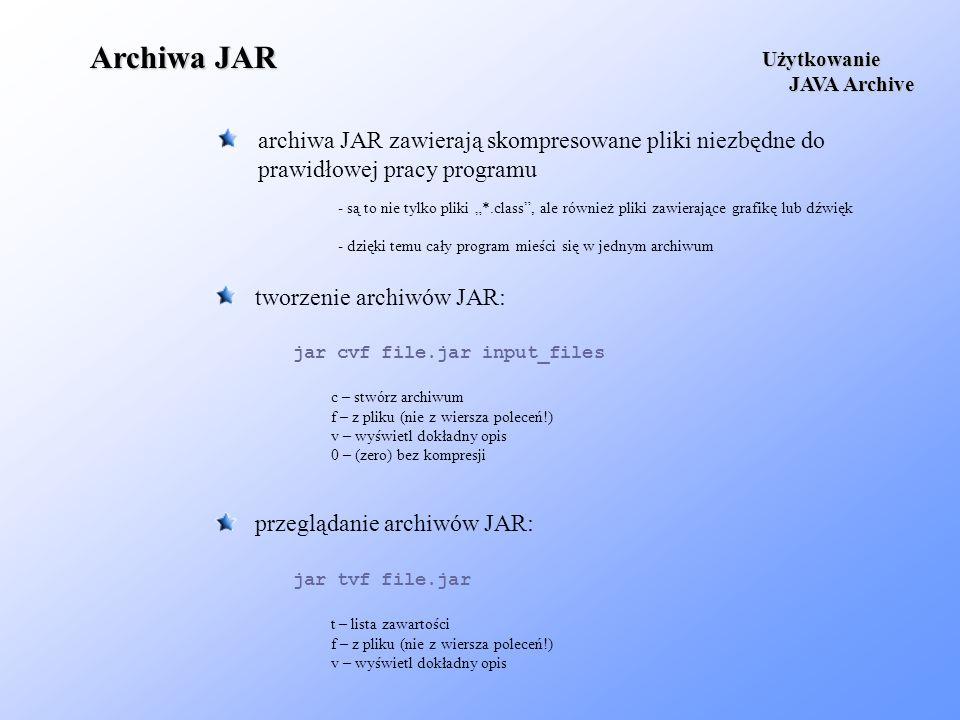 Archiwa JAR archiwa JAR zawierają skompresowane pliki niezbędne do prawidłowej pracy programu Użytkowanie JAVA Archive JAVA Archive tworzenie archiwów