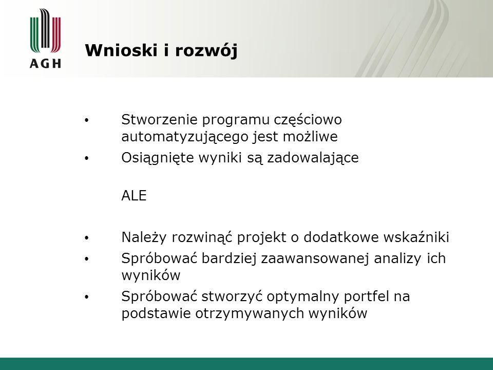Wnioski i rozwój Stworzenie programu częściowo automatyzującego jest możliwe Osiągnięte wyniki są zadowalające ALE Należy rozwinąć projekt o dodatkowe