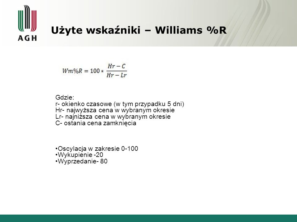 Użyte wskaźniki – Williams %R Gdzie: r- okienko czasowe (w tym przypadku 5 dni) Hr- najwyższa cena w wybranym okresie Lr- najniższa cena w wybranym ok