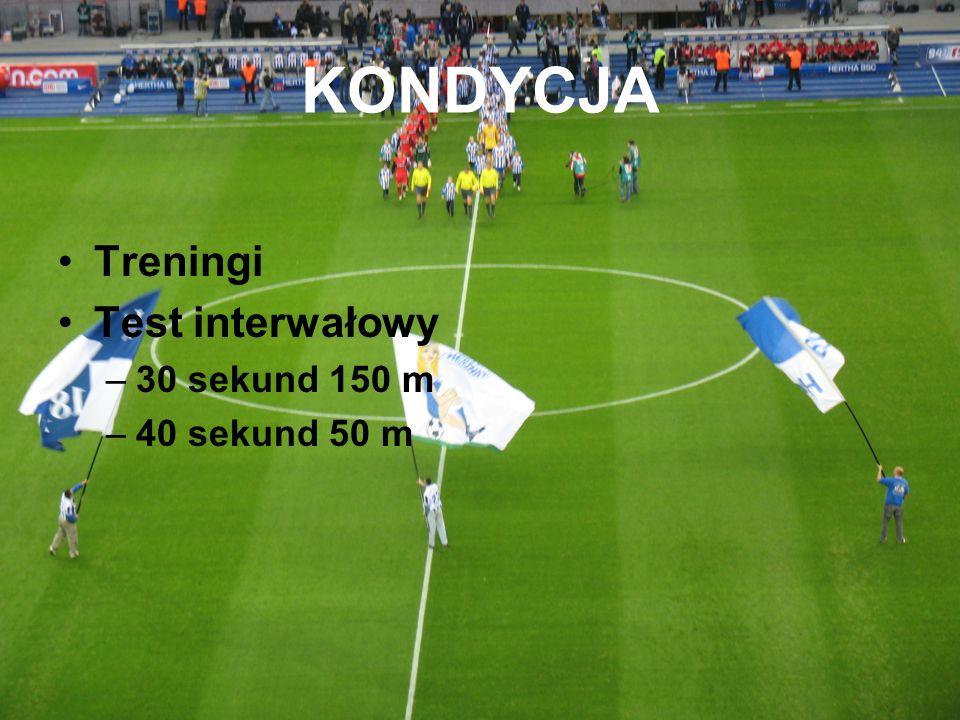KONDYCJA Treningi Test interwałowy –30 sekund 150 m –40 sekund 50 m
