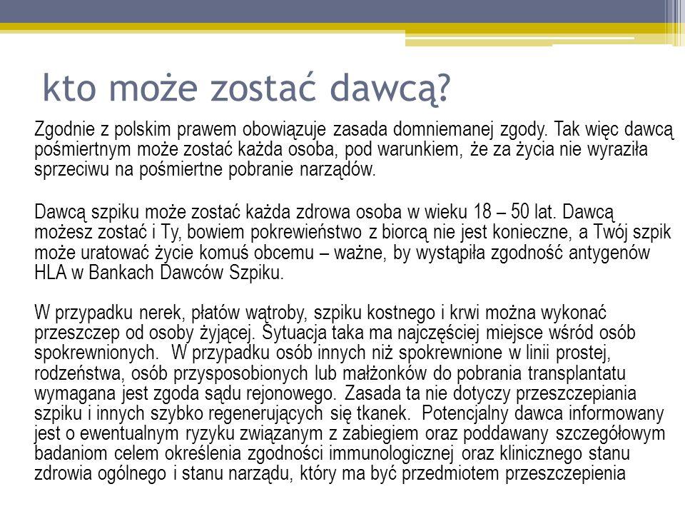 kto może zostać dawcą? Zgodnie z polskim prawem obowiązuje zasada domniemanej zgody. Tak więc dawcą pośmiertnym może zostać każda osoba, pod warunkiem