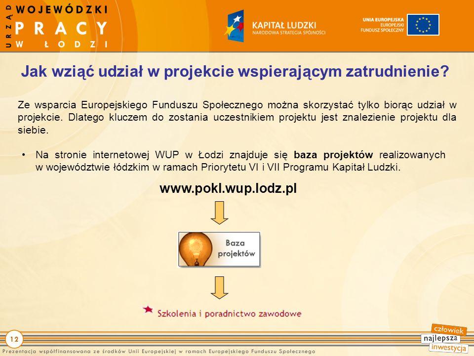 12 Ze wsparcia Europejskiego Funduszu Społecznego można skorzystać tylko biorąc udział w projekcie.
