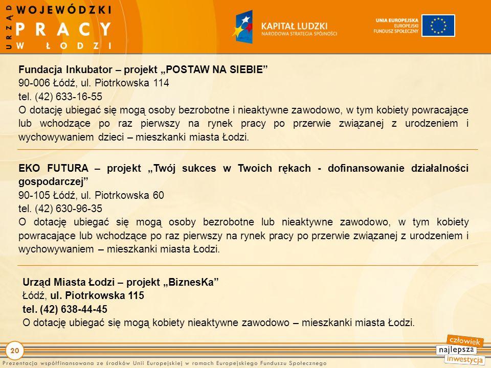 20 Fundacja Inkubator – projekt POSTAW NA SIEBIE 90-006 Łódź, ul.