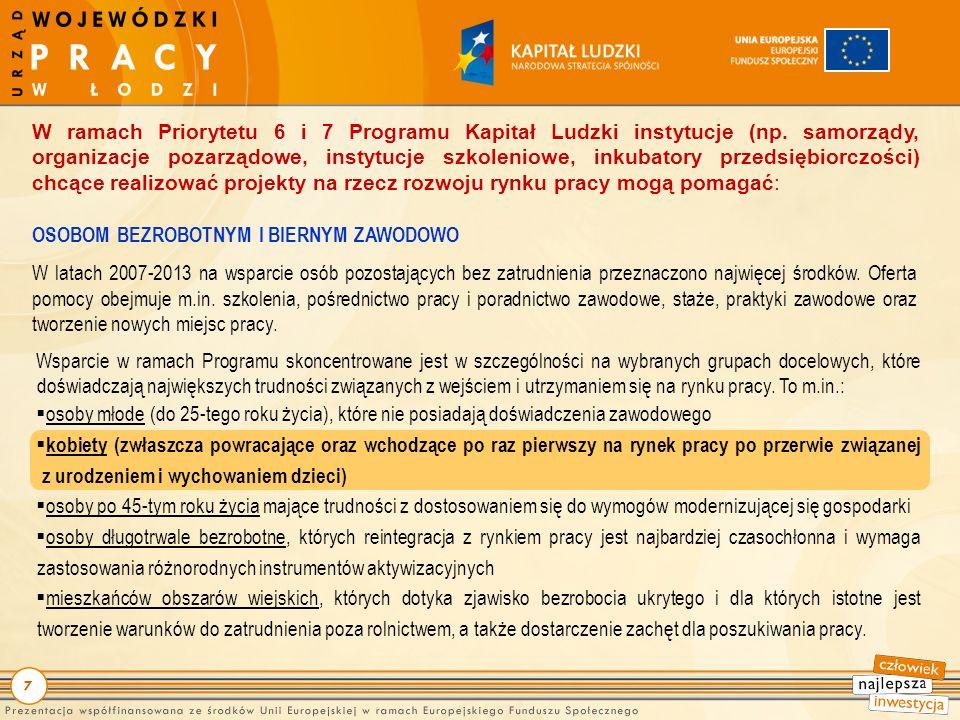7 W ramach Priorytetu 6 i 7 Programu Kapitał Ludzki instytucje (np.