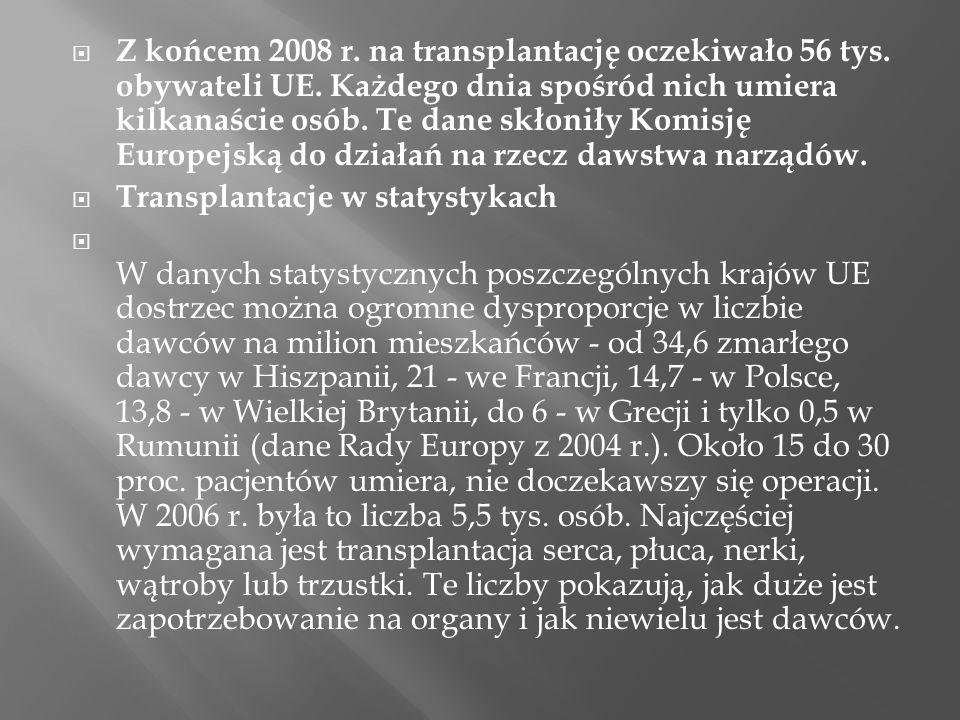 Z końcem 2008 r. na transplantację oczekiwało 56 tys. obywateli UE. Każdego dnia spośród nich umiera kilkanaście osób. Te dane skłoniły Komisję Europe