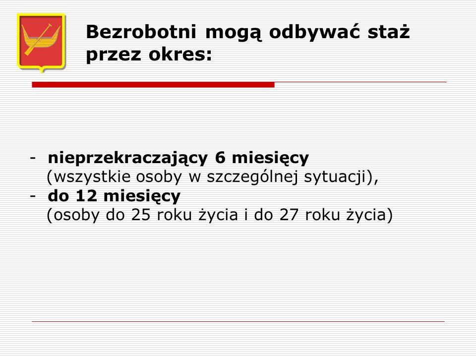 - nieprzekraczający 6 miesięcy (wszystkie osoby w szczególnej sytuacji), - do 12 miesięcy (osoby do 25 roku życia i do 27 roku życia) Bezrobotni mogą