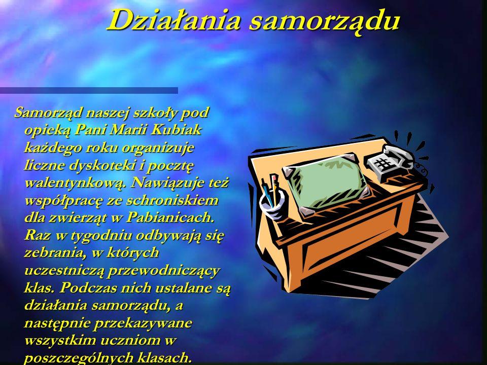 Działania samorządu Samorząd naszej szkoły pod opieką Pani Marii Kubiak każdego roku organizuje liczne dyskoteki i pocztę walentynkową.