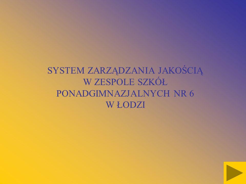 SYSTEM ZARZĄDZANIA JAKOŚCIĄ W ZESPOLE SZKÓŁ PONADGIMNAZJALNYCH NR 6 W ŁODZI
