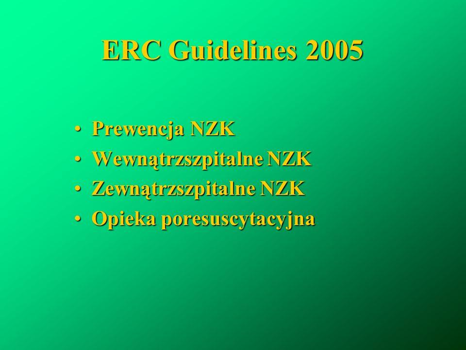ERC Guidelines 2005 Prewencja NZKPrewencja NZK Wewnątrzszpitalne NZKWewnątrzszpitalne NZK Zewnątrzszpitalne NZKZewnątrzszpitalne NZK Opieka poresuscyt