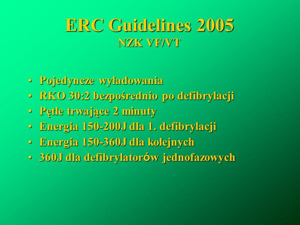 ERC Guidelines 2005 NZK VF/VT Pojedyncze wyładowaniaPojedyncze wyładowania RKO 30:2 bezpośrednio po defibrylacjiRKO 30:2 bezpośrednio po defibrylacji