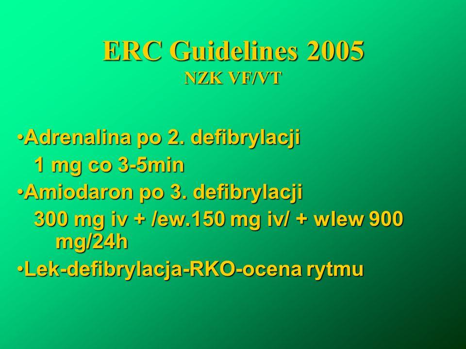 ERC Guidelines 2005 NZK VF/VT Adrenalina po 2. defibrylacjiAdrenalina po 2. defibrylacji 1 mg co 3-5min 1 mg co 3-5min Amiodaron po 3. defibrylacjiAmi