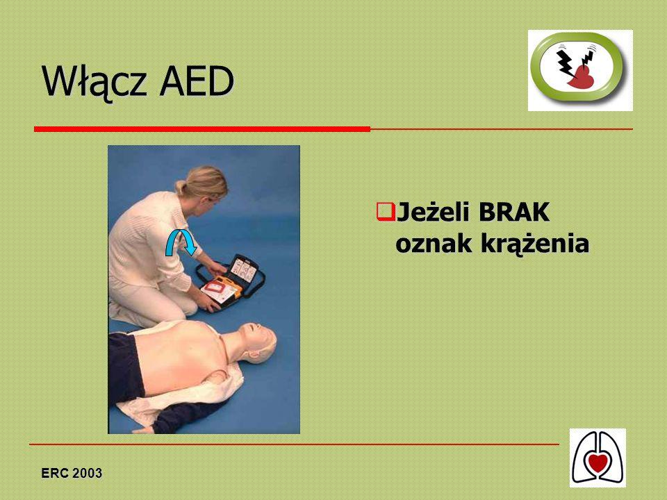 ERC 2003 Włącz AED Jeżeli BRAK oznak krążenia Jeżeli BRAK oznak krążenia
