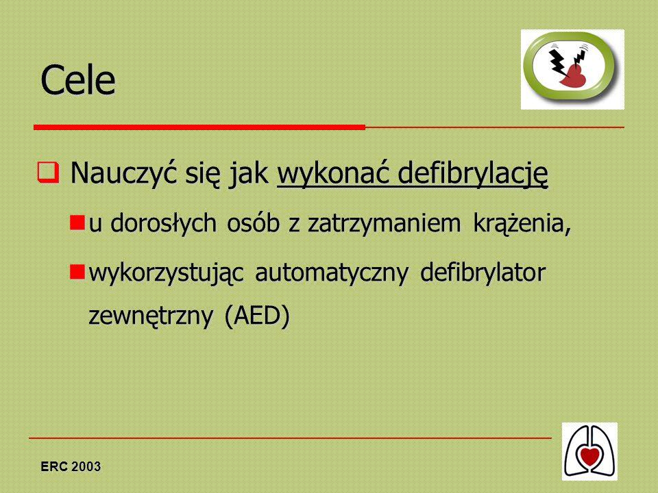 ERC 2003 Cele Nauczyć się jak wykonać defibrylację Nauczyć się jak wykonać defibrylację u dorosłych osób z zatrzymaniem krążenia, u dorosłych osób z z