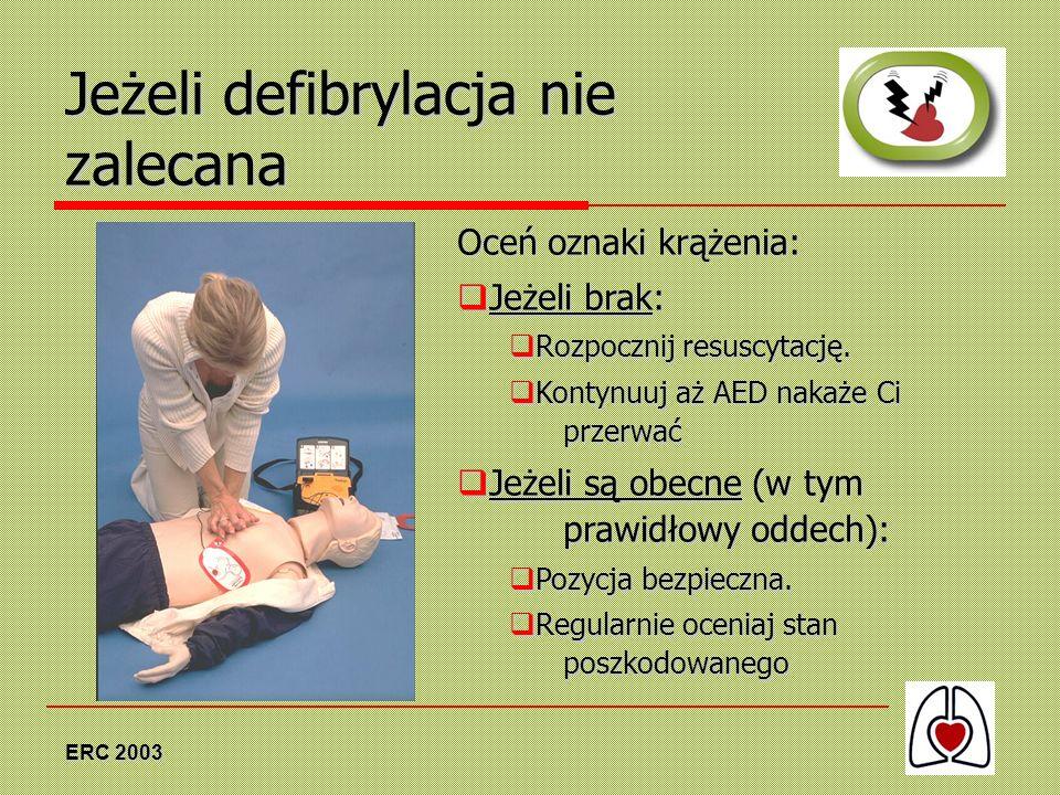 ERC 2003 Jeżeli defibrylacja nie zalecana Oceń oznaki krążenia: Jeżeli brak: Jeżeli brak: Rozpocznij resuscytację. Rozpocznij resuscytację. Kontynuuj