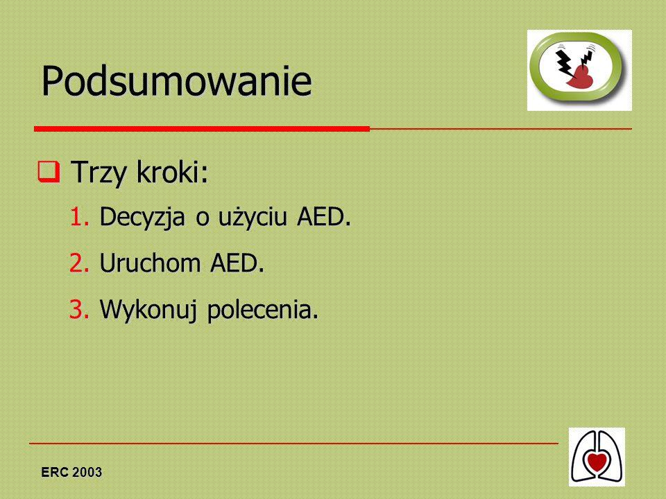 ERC 2003 Podsumowanie Trzy kroki: Trzy kroki: 1. Decyzja o użyciu AED. 2. Uruchom AED. 3. Wykonuj polecenia.