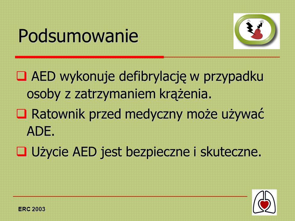 ERC 2003 Podsumowanie AED wykonuje defibrylację w przypadku osoby z zatrzymaniem krążenia. AED wykonuje defibrylację w przypadku osoby z zatrzymaniem