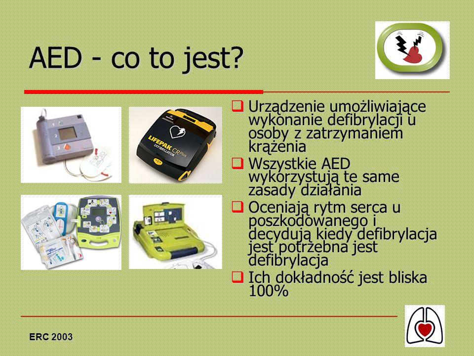 ERC 2003 AED - co to jest? Urządzenie umożliwiające wykonanie defibrylacji u osoby z zatrzymaniem krążenia Urządzenie umożliwiające wykonanie defibryl