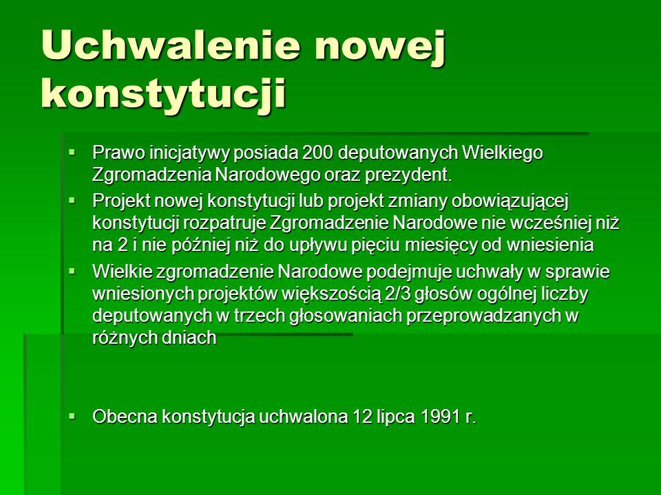 Uchwalenie nowej konstytucji Prawo inicjatywy posiada 200 deputowanych Wielkiego Zgromadzenia Narodowego oraz prezydent. Prawo inicjatywy posiada 200