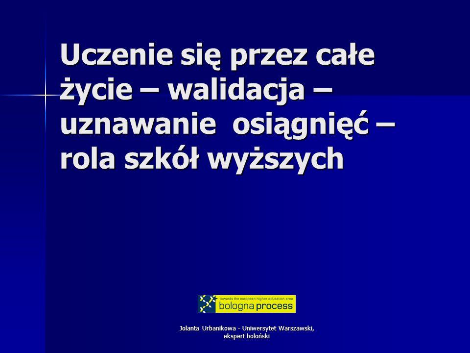 Jolanta Urbanikowa - Uniwersytet Warszawski, ekspert boloński Uczenie się przez całe życie – walidacja – uznawanie osiągnięć – rola szkół wyższych