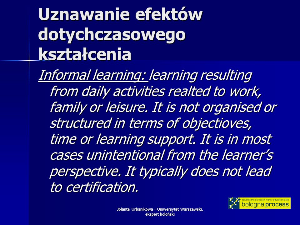 Jolanta Urbanikowa - Uniwersytet Warszawski, ekspert boloński Uznawanie efektów dotychczasowego kształcenia Informal learning: learning resulting from daily activities realted to work, family or leisure.