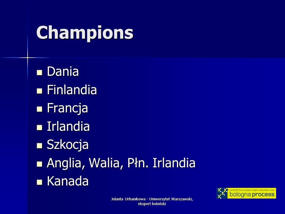 Jolanta Urbanikowa - Uniwersytet Warszawski, ekspert boloński Champions Dania Dania Finlandia Finlandia Francja Francja Irlandia Irlandia Szkocja Szkocja Anglia, Walia, Płn.
