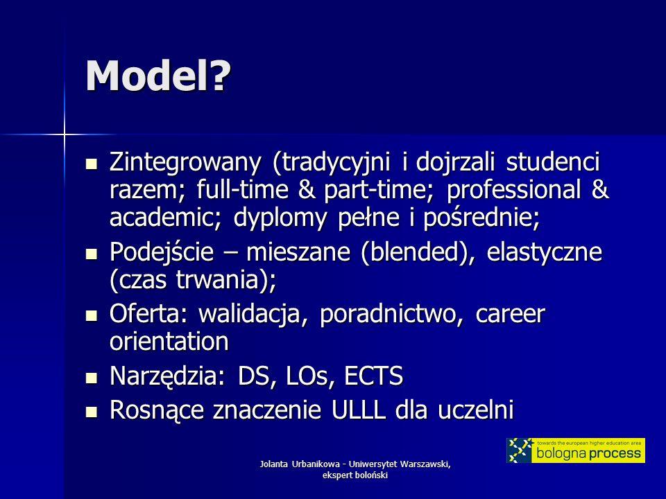 Jolanta Urbanikowa - Uniwersytet Warszawski, ekspert boloński Model.