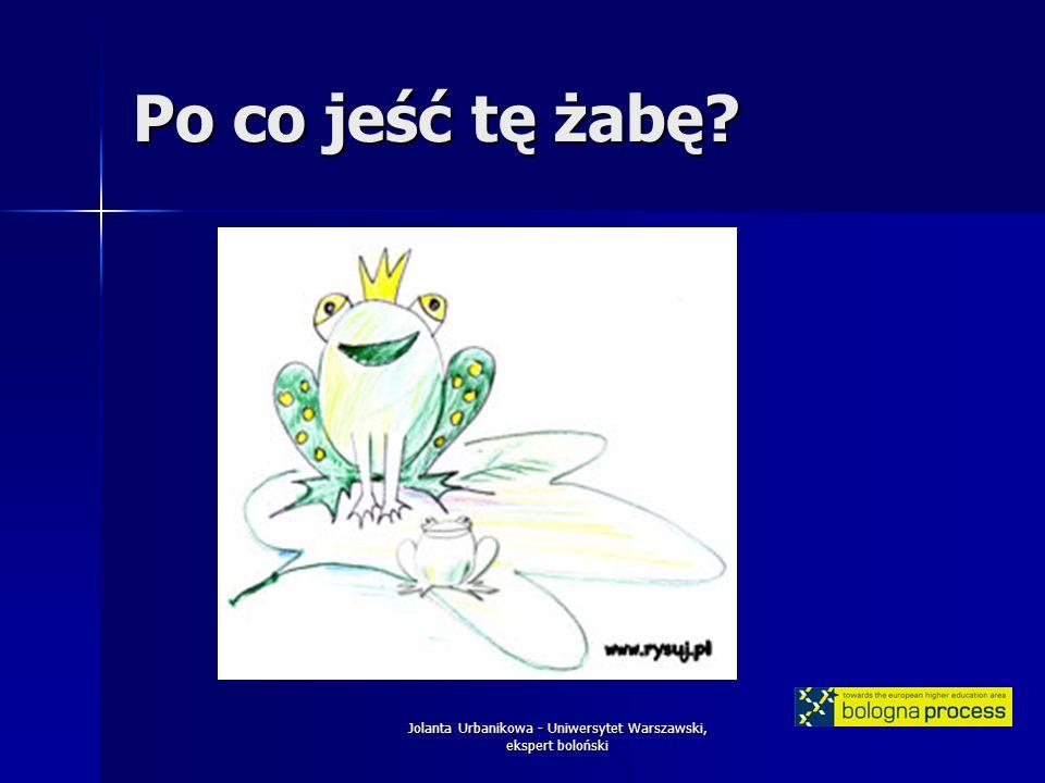 Jolanta Urbanikowa - Uniwersytet Warszawski, ekspert boloński Po co jeść tę żabę