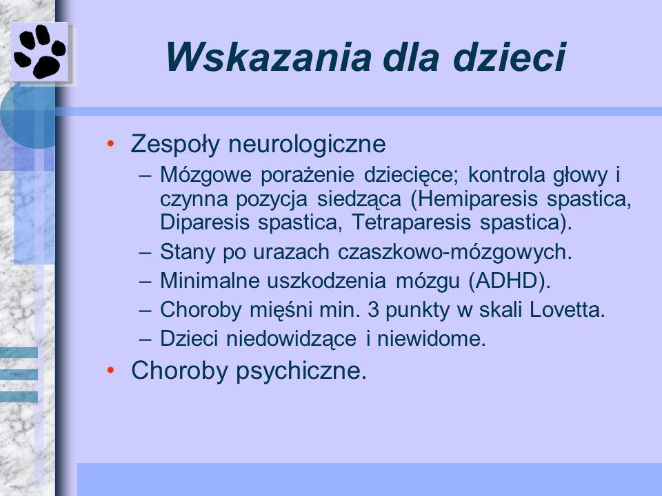 Wskazania dla dzieci Zespoły neurologiczne –Mózgowe porażenie dziecięce; kontrola głowy i czynna pozycja siedząca (Hemiparesis spastica, Diparesis spa