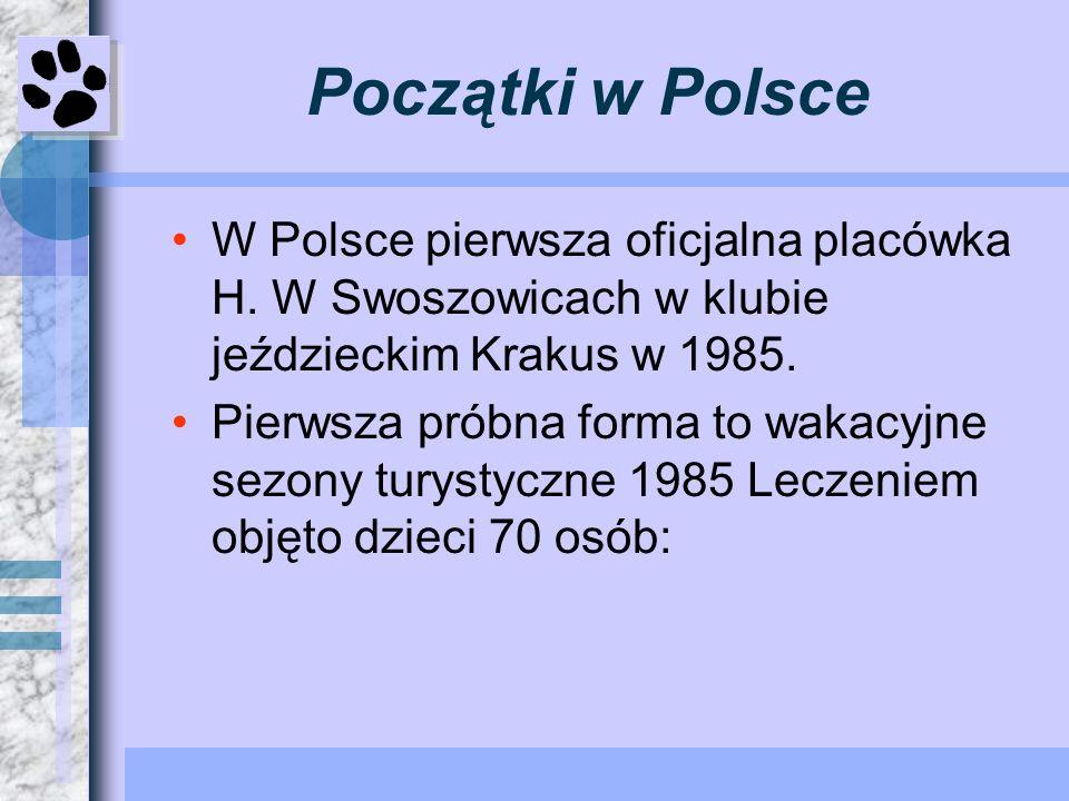 Początki w Polsce W Polsce pierwsza oficjalna placówka H. W Swoszowicach w klubie jeździeckim Krakus w 1985. Pierwsza próbna forma to wakacyjne sezony